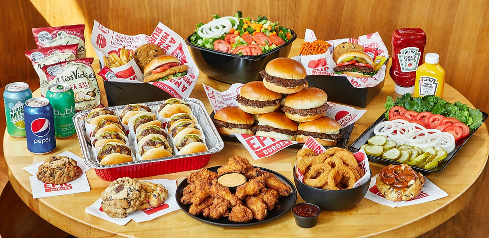 Hamburger, slider, wing, salad catering