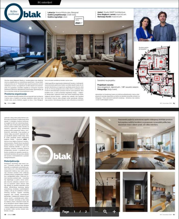 Oblak Penhouse in Belgrade Skyline tower gets published in Idealni Dom magazine