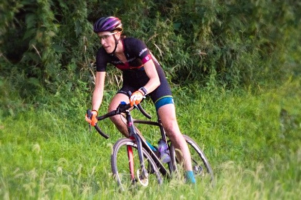 Practicing cylcocross skills on the trails in Valley Park during the @2TimingGuys Dirt Crit Thursday night summer series