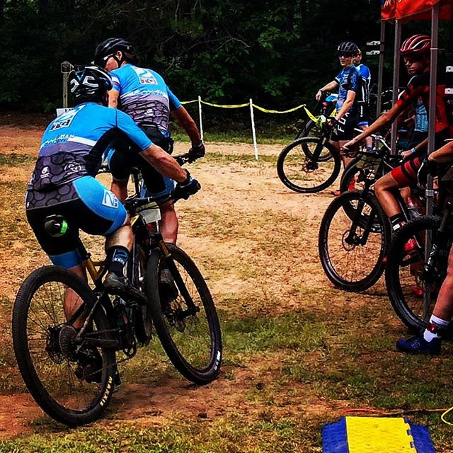 @DougEFreshCX fist-bumping Brandon for the relay exchange... on bikes.