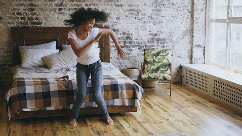 Attractive mixed race young joyful woman