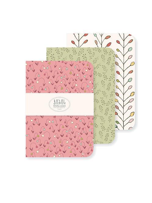 ჯიბის წიგნაკების ნაკრები - ვარდისფერი / მწვანე / თეთრი