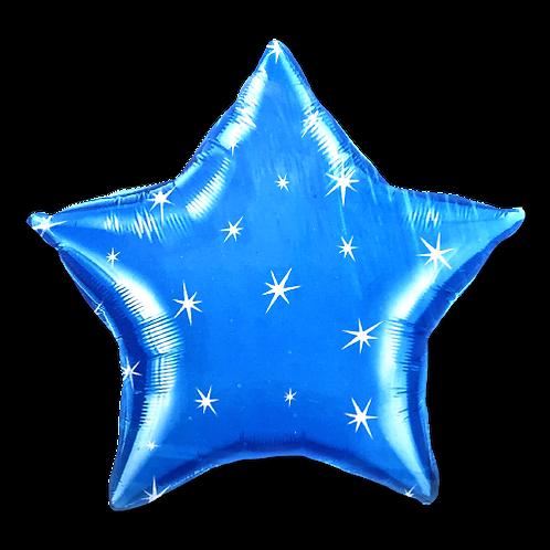 Dark Blue Star with Sparkles