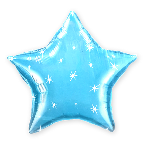Light Blue Star with Sparkles