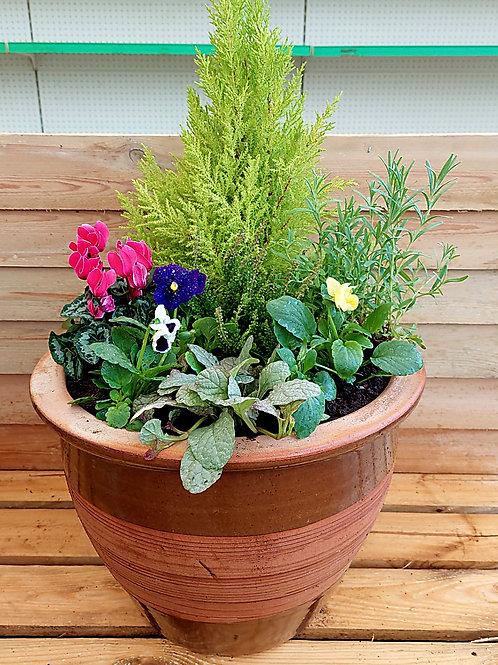 15inch CERAMIC Autumn Winter planted Pot
