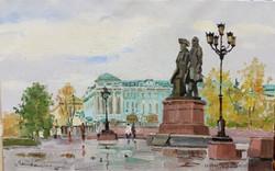 Екатеринбург (памятник Де Геннину и Татищеву). Ekaterinburg 35х55, х.м. 2015