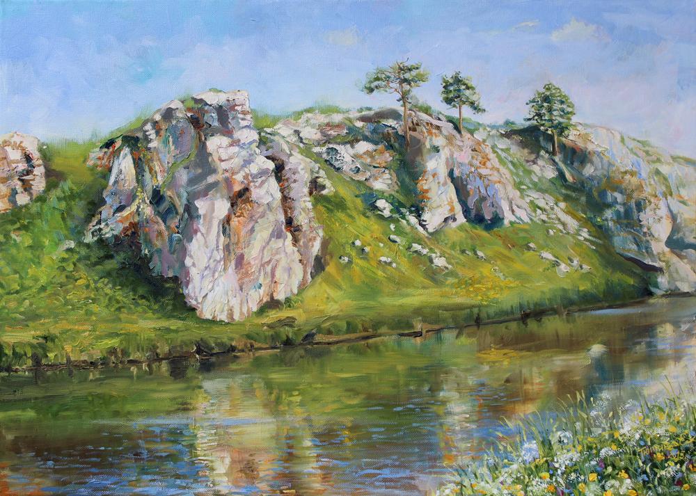 Слободский камень. Река Чусовая. Холст масло. 50х70см. 2015г