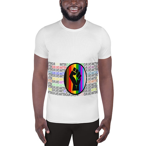 LGBTQIA All-Over Print Men's Athletic T-shirt