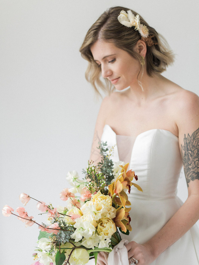 STEPHY,  MAKEUP: KSENIA HAIR: HANNAH KASZA PHOTOGRAPHY: REBECCA BENOIT FLORALS: GOSSIP FLORAL