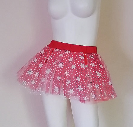 Adult Unisex Snowflakes & Bells Red & White Tulle Skirt