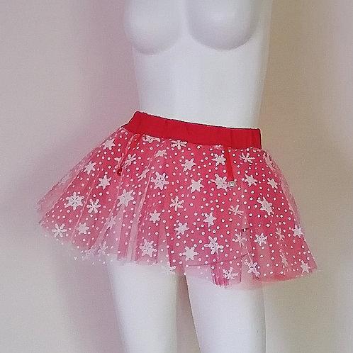 Adult Unisex Snowflakes & Bells Red & White Tulle Skirt