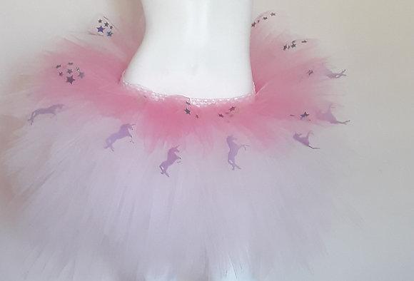 Pink Unicorns & Sparkly Stars, Light Pink & Medium Pink Multi Layered Tutu