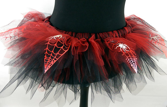 Red & Black Spider Web with Glow in the Dark Spiders Tutu