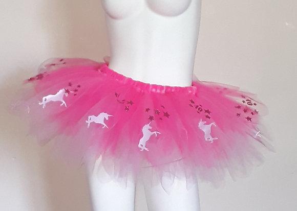 Fluorescent Pink & Light Pink Tutu Featuring Pink Unicorns & Sparkly Age & Stars