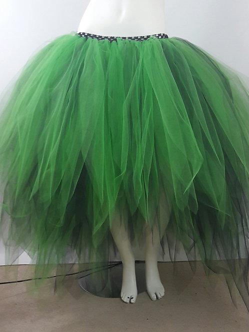 Majestic Emerald Green and Black Low High Layered Tutu,Wedding Prom Photo Shoot