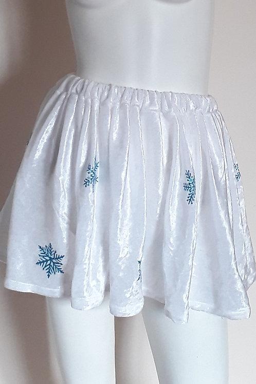 Unisex Adult White Crushed Velvet Skirt Featuring Glitter Blue Snowflakes