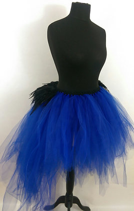 High Low Tutu Featuring Black Rooster Feathers