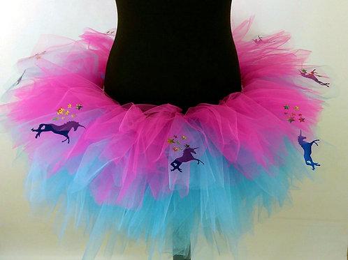 Blue Unicorns & Sparkly Stars,Turquoise & Pink Multi Layered Tutu