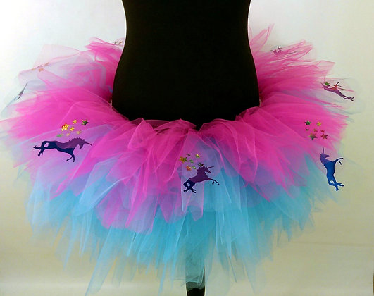 Blue Unicorns & Sparkly Stars,Turquoise & Pink Multi Layered Tutu