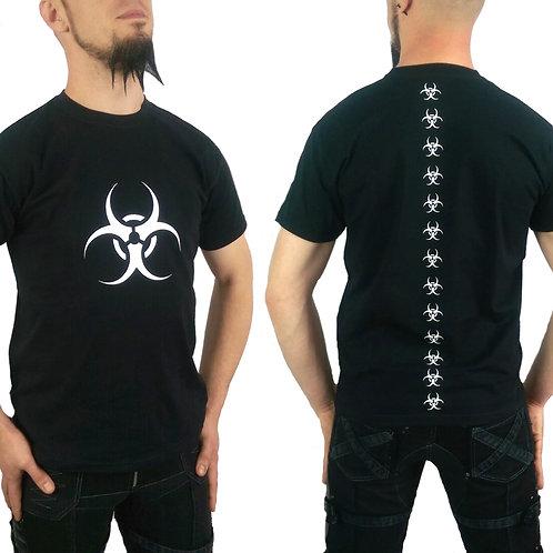 White Biohazard Bio-Spine Cyber Goth Black T-shirt