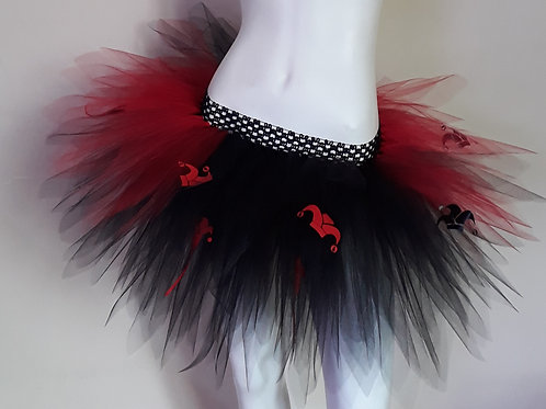 Jester Skull Black and Red Multi Layered Tutu