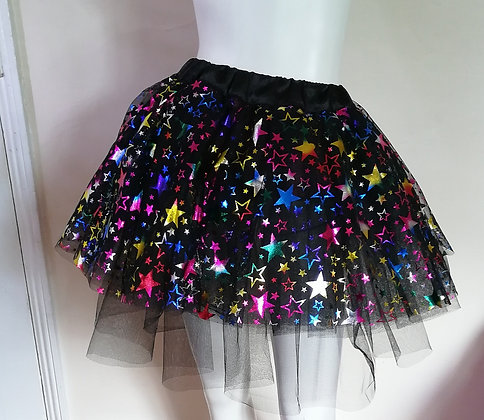 Unisex Adult Cosmic Star Multi Layered Black Random Layered Tulle Skirt