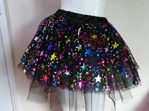 Unisex Adult Cosmic Star Multi Layered Black Random Layered Tulle Skirt