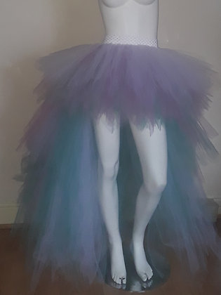 Adult Unisex Tuttie Fruity Teal, Dusky Pink and White High Low Tutu Skirt