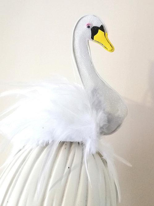Unisex White  Glitter Swan Headband