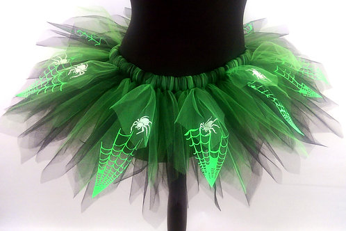 Green & Black Tutu with Fluorescent Spider Web with Glow in the Dark Spiders