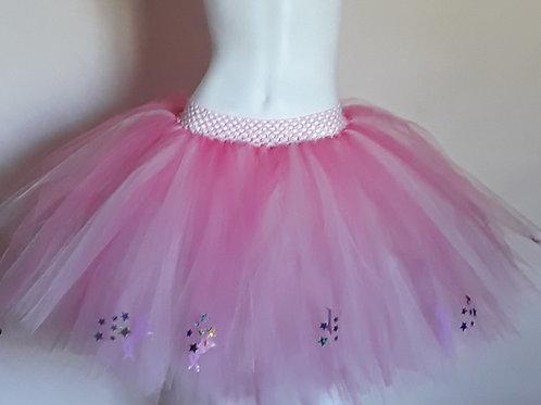Pink Unicorns & Rainbow Stars on a Light Pink and Coral Tulle Tutu