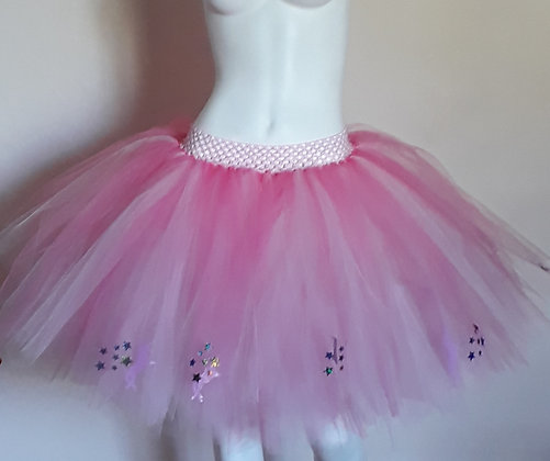 Pink Unicorns & Rainbow Stars on a Light Pink and Coral Tulle Tutu