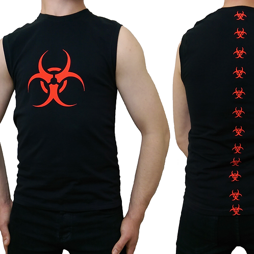 Red Biohazard Biospine Sleeveless Black Tank T-shirt Cyber Goth