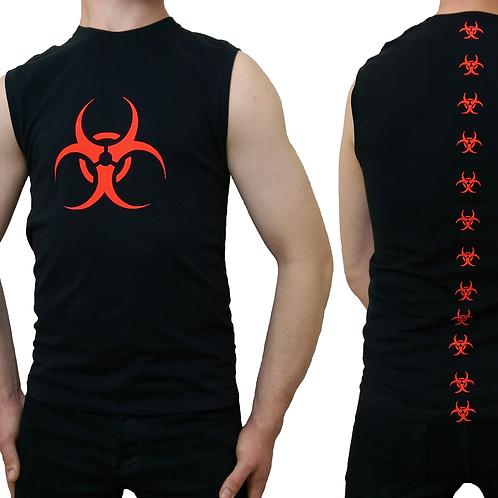 Red Biohazard Biospine Sleeveless Black Tank T-shirt Cyber Goth