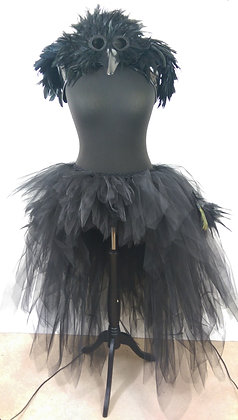 Black Low High Layered Tutu with Peacock & Turkey Feathers