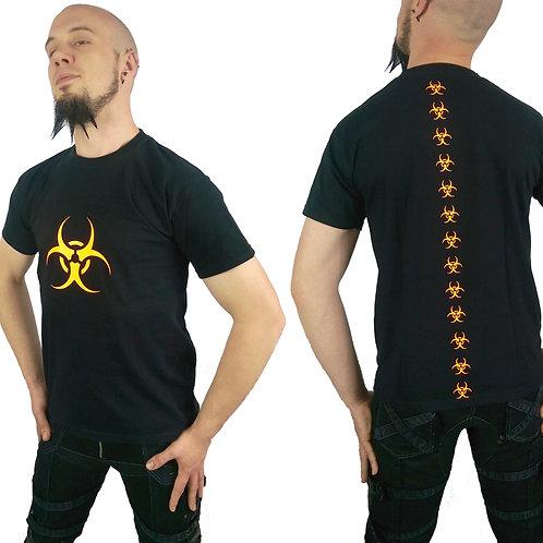 Fluorescent Orange Biohazard Cyber Goth Black T-shirt
