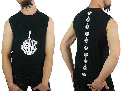 F**k You Bone Middle Finger Sleeveless Black Tank T-shirt Cyber