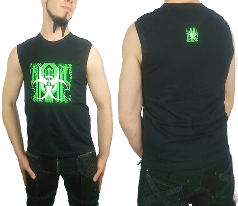 Glow in the Dark, Fluorecent Bio Circuit Black Cotton Sleeveless Tank T-Shirt