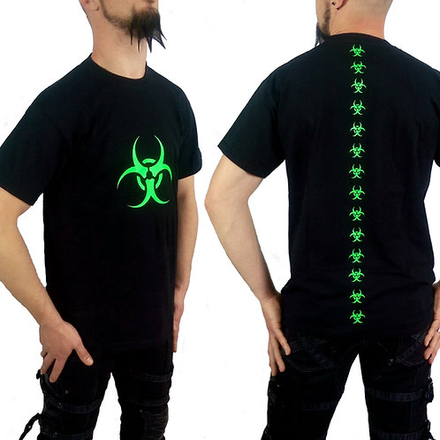Fluorescent Green Biohazard Cyber Goth Black T-shirt