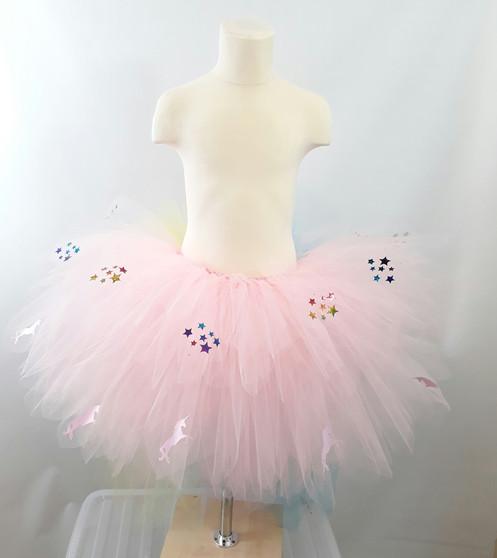 60017233b Pink Unicorns & Rainbow Stars on a Pink Tutu with a Rainbow Tail