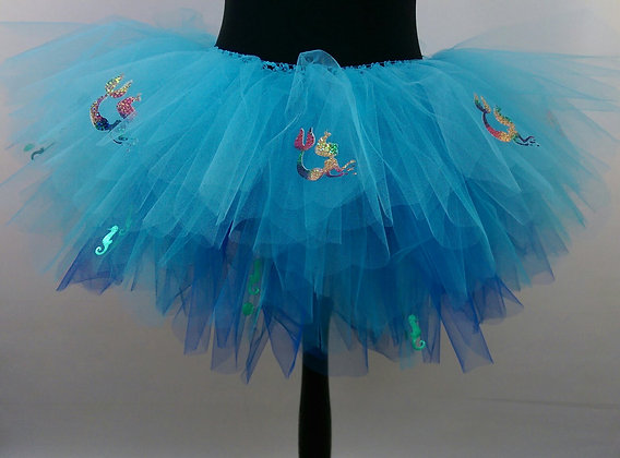 Mermaids & Metallic Green Seahorses on a Sea of Blue Multi Layered Tutu