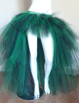 Emerald Green and Navy Blue High Low Layered Adult Tutu