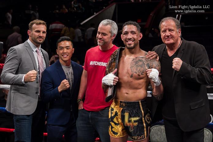 Lion Fight Team: Commentator Nathan Corbett, Athlete Advisor Justin Kwan, Cruiserweight Champion, Chip Moraza-Pollard, and CEO, Scott Kent