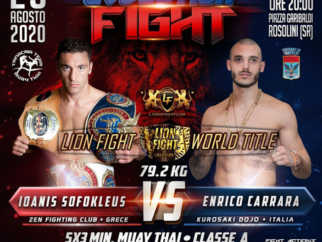 LION FIGHT RETURNS WITH WORLD TITLE BOUT IN ITALY
