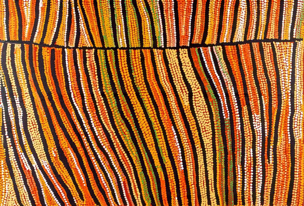 Untitled by Mitjili Napanangka Gibson, who paints aerial views of the desert around Mina Minaa
