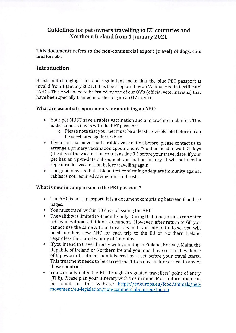 Guidelines for pet owners travelling to EU countries and Northern Ireland from 01.01.21.jp