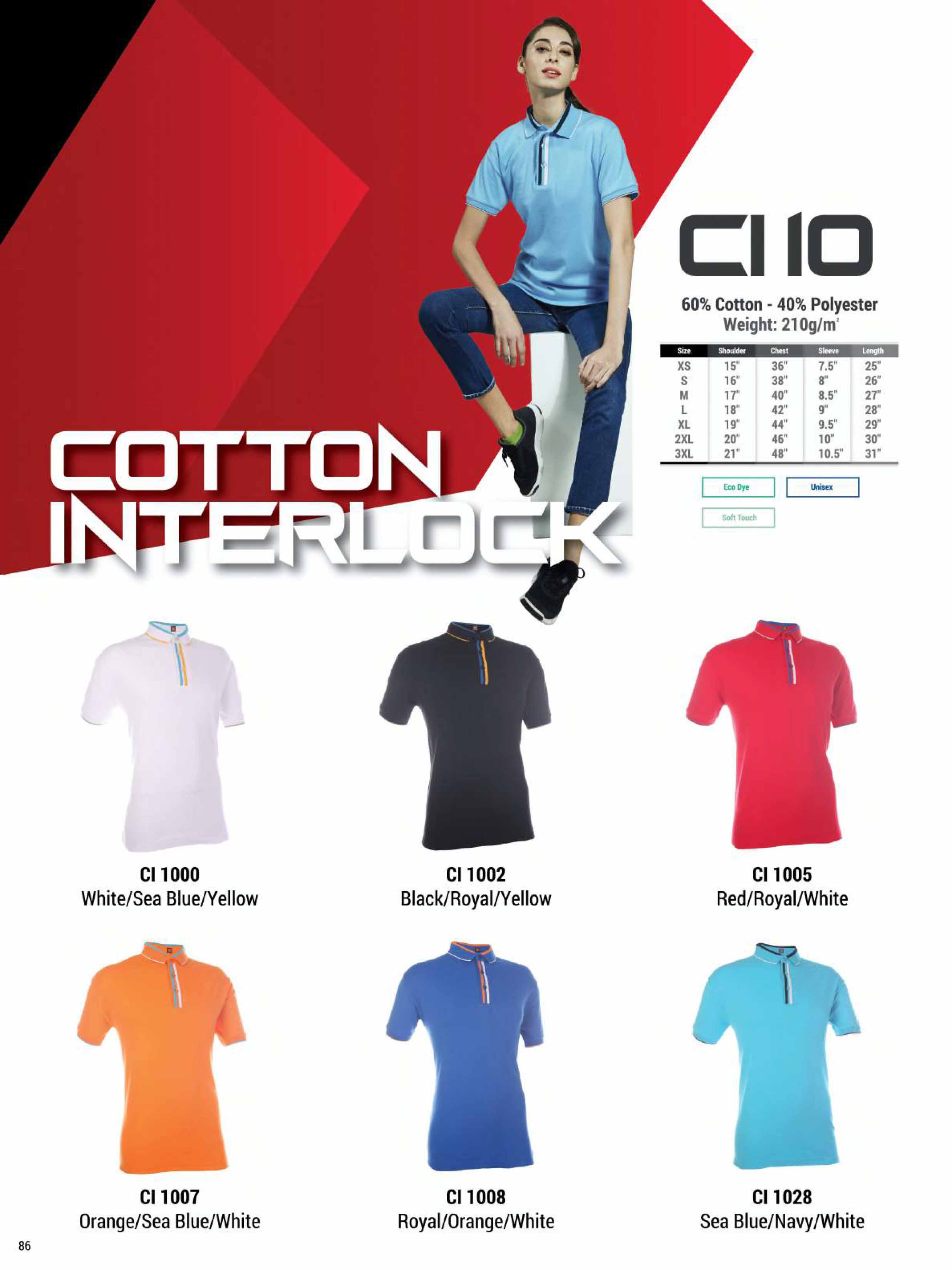 CI10 COTTON INTERLOCK POLO T-SHIRT