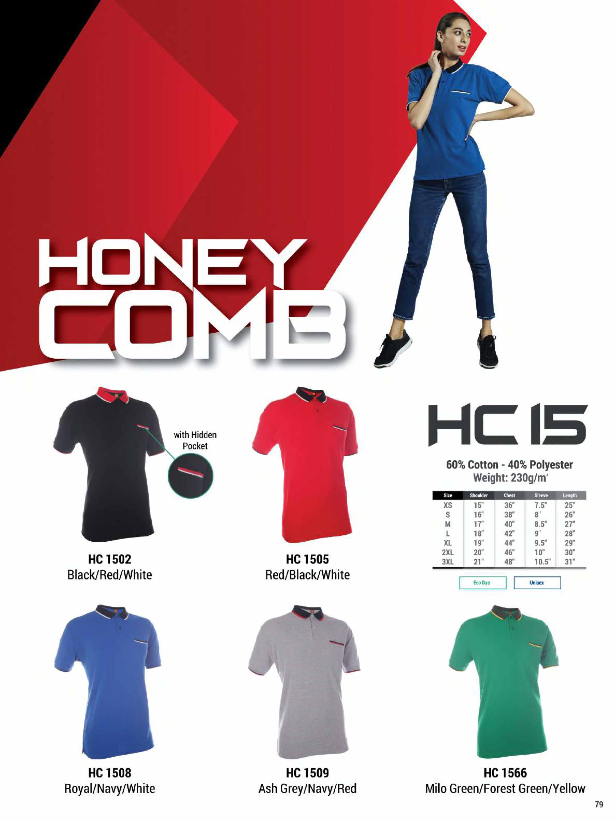 HC15 HONEYCOMB COTTON POLO T-SHIRT