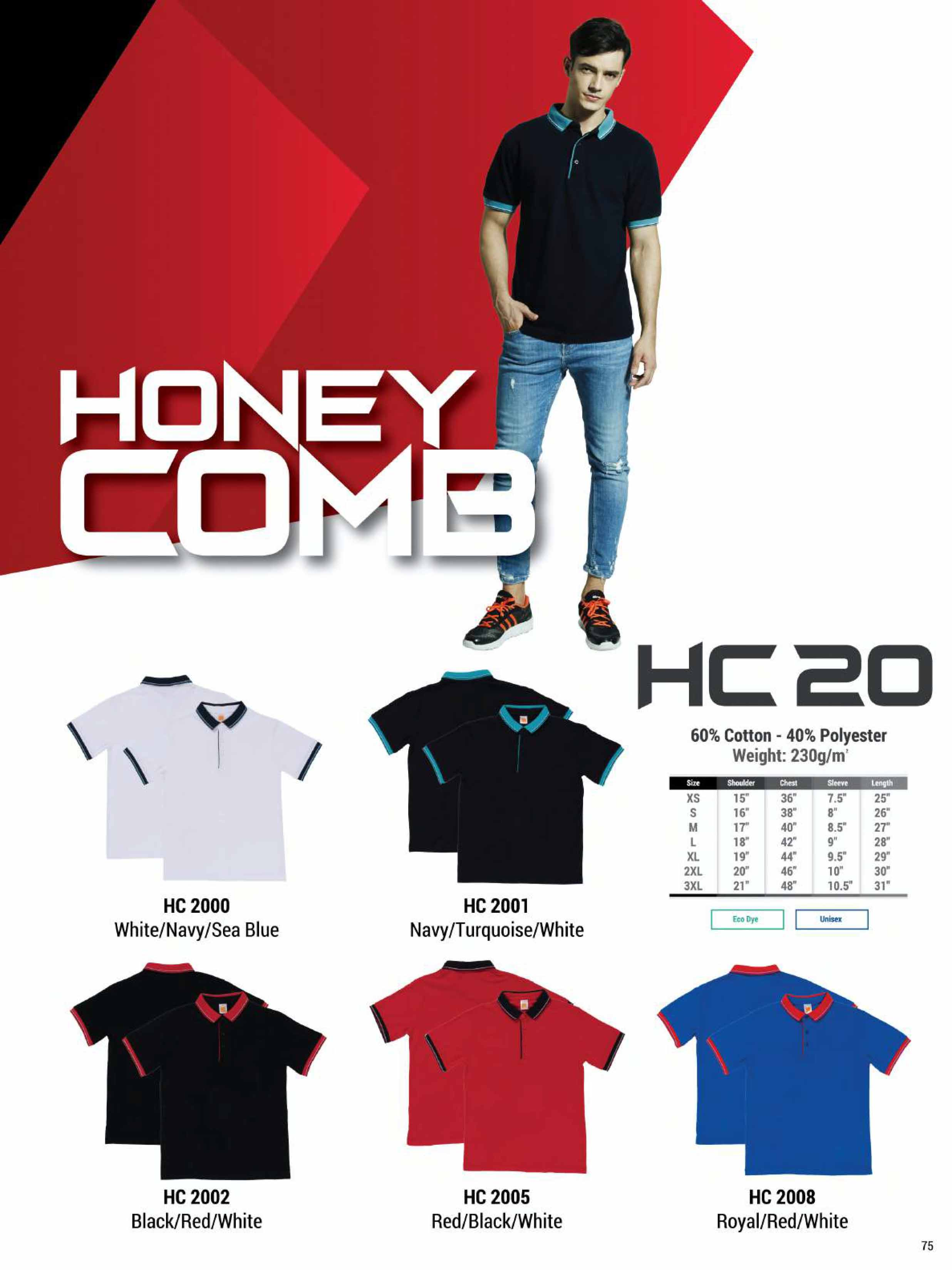 HC20 HONEYCOMB COTTON POLO T-SHIRT