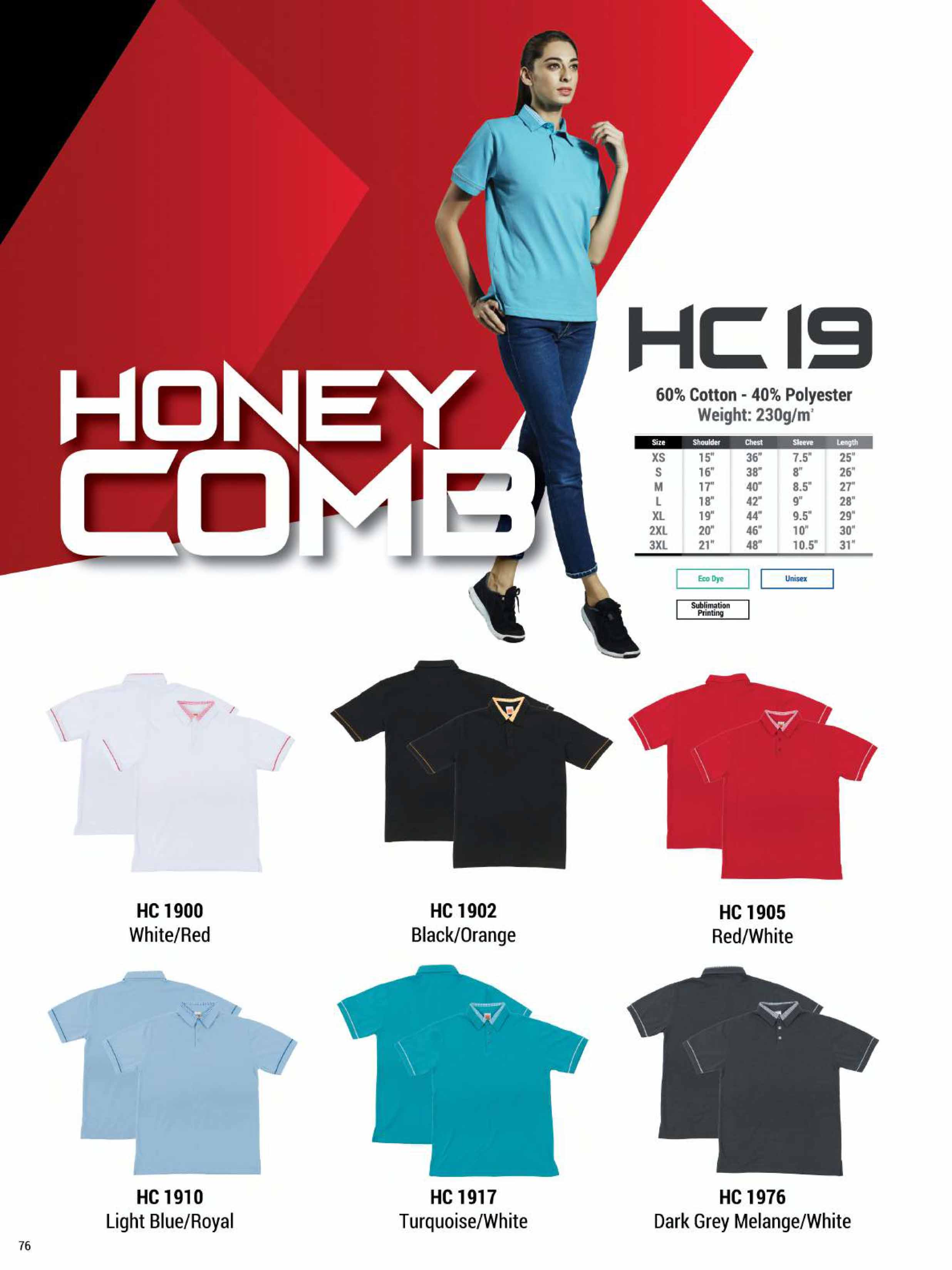HC19 HONEYCOMB COTTON POLO T-SHIRT